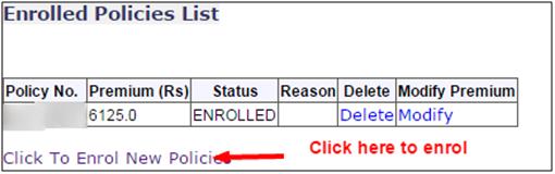 LIC enrollment page